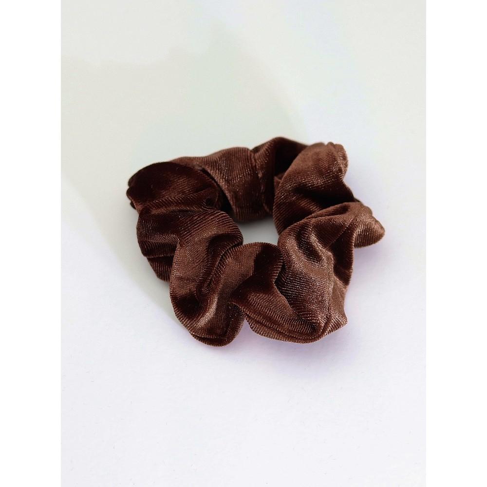 Σούρα λαστιχάκι μαλλιών βελούδο σατέν καφέ