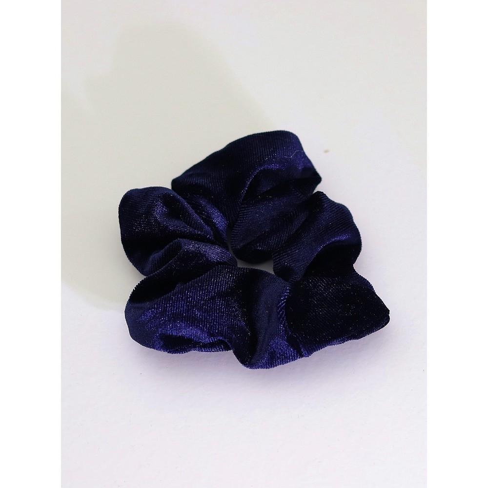 Σούρα λαστιχάκι μαλλιών βελούδο σατέν μπλε σκούρο