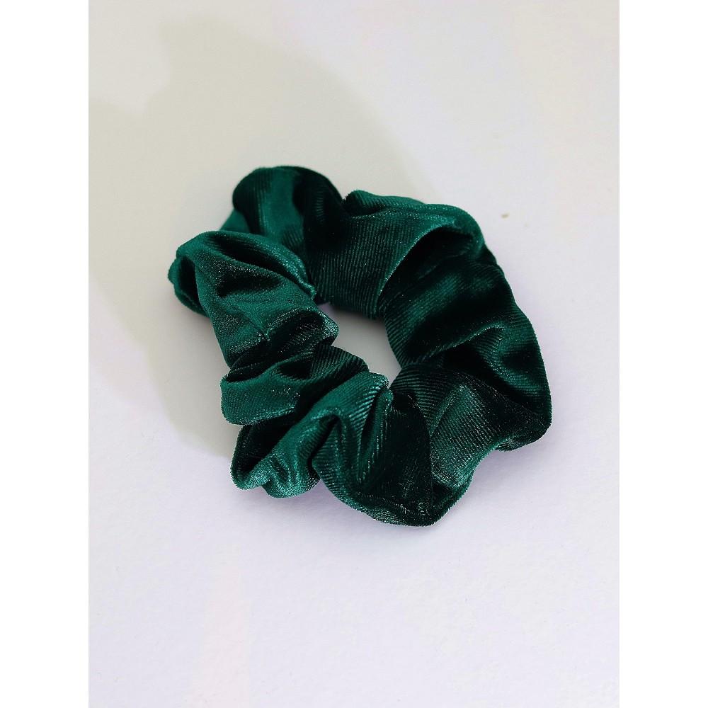Σούρα λαστιχάκι μαλλιών βελούδο σατέν πράσινο