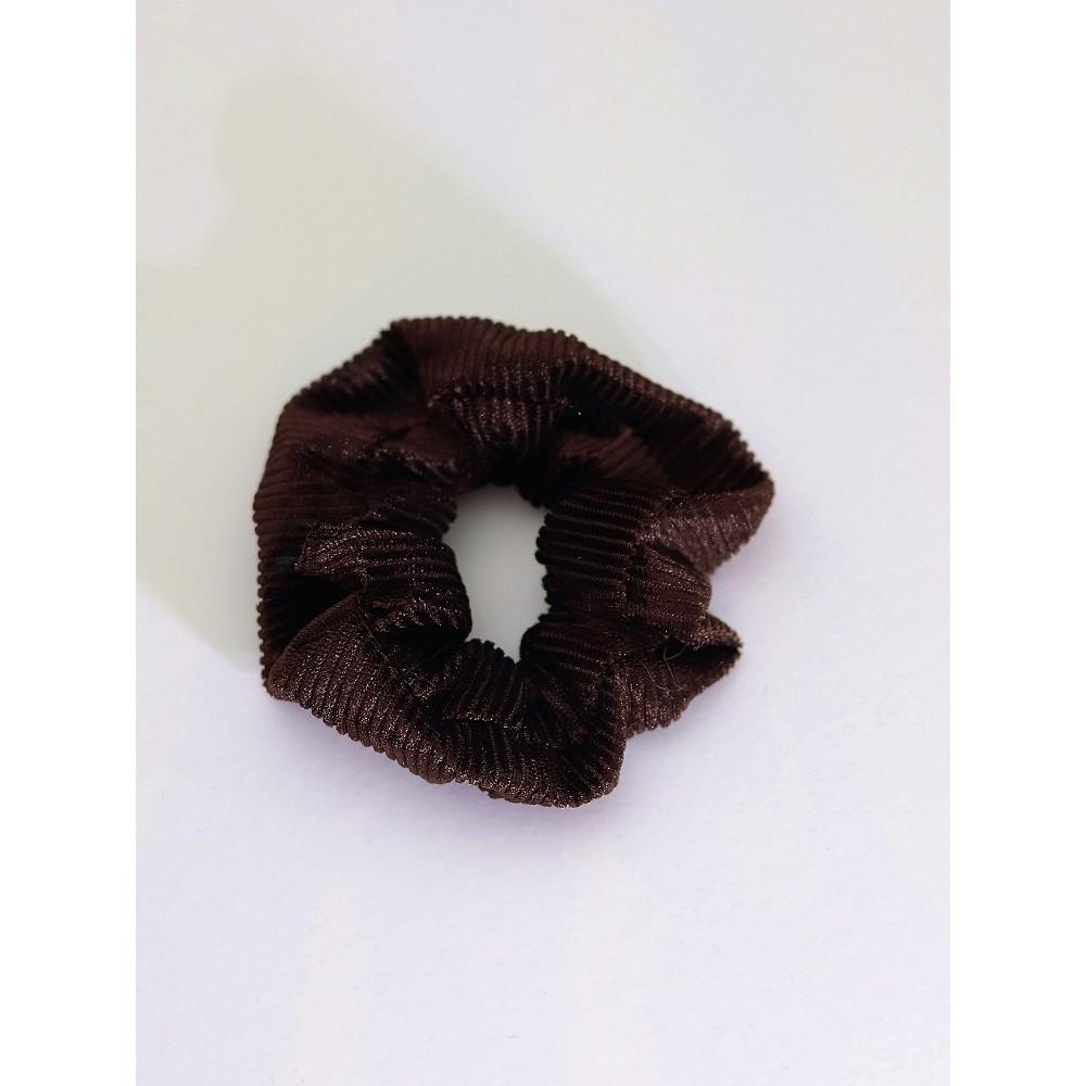 Σούρα λαστιχάκι μαλλιών βελούδο κοτλέ καφέ σκούρο