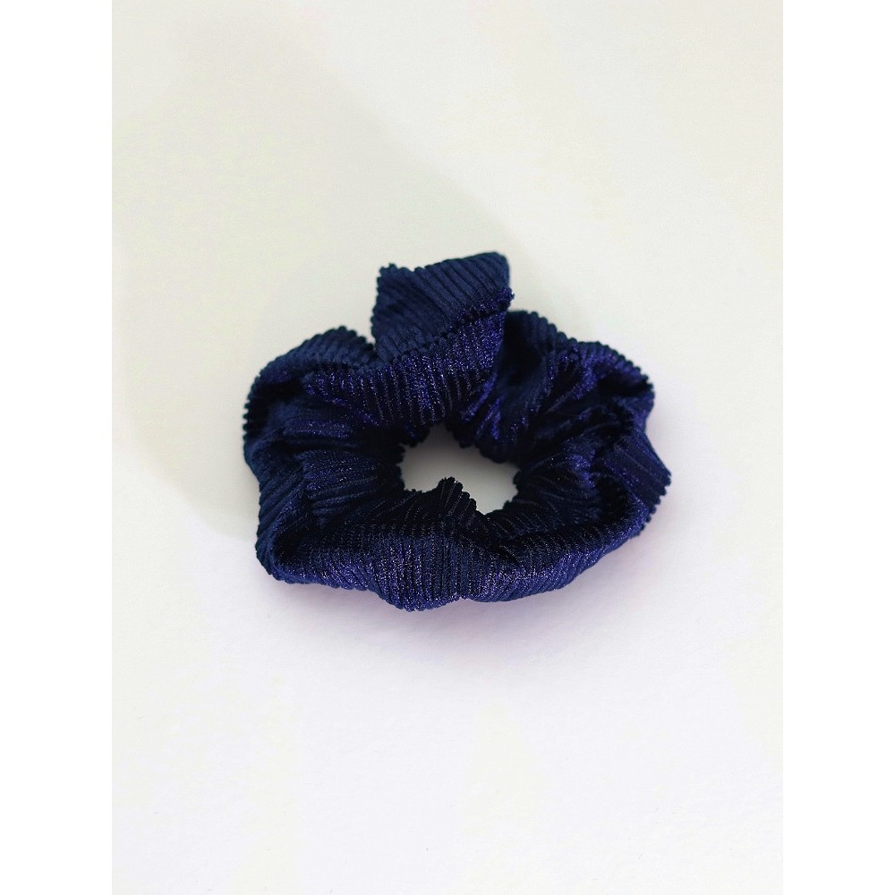 Σούρα λαστιχάκι μαλλιών βελούδο κοτλέ μπλε
